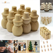 10pcs Wooden Unfinished DIY Craft Peg Dolls Wood Toy Home Arts Sewing Crafts Doll Puppet Bases Christmas Wedding Decor