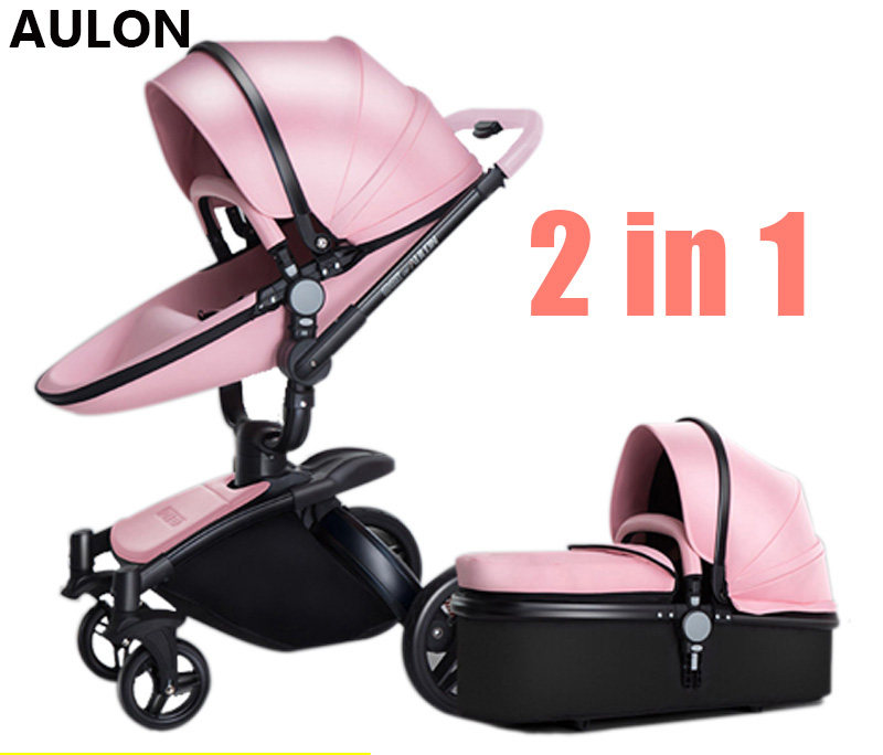 AULON Oyun Long baby stroller cortical bi-directional high-view shock absorber baby carriage can sit in the cart