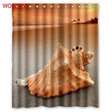 WONZOM Sea Shell Waterproof Shower Curtains For Bathroom Decor Modern Landscape Bath Curtain with 12 Hooks Mildewproof 2017 Gift