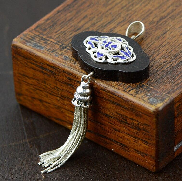 Pendentif en ébène naturel S925 gland en argent Fulin porte mode Vintage émail femme pendentif chandail chaîne pendentif femme