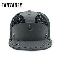 Janvancy Novelty Hip Hop Baseball Caps Flat Bone Snapback Steampunk Vintage Snake Skin Armor Pointed Nails