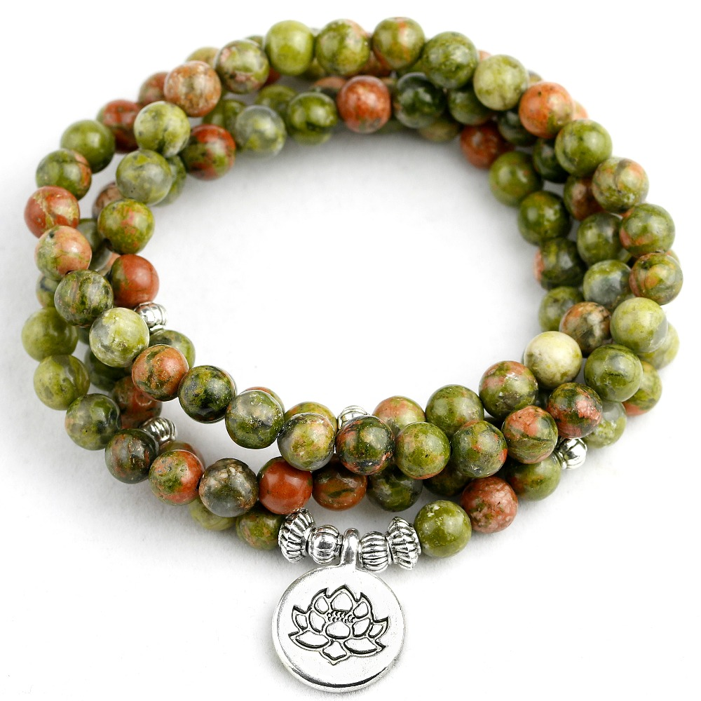 Natural Serpentine Stone Beads With Antique Silver Plated Buddha Lotus Charm Bracelet Men Women Yoga Jewelry Drop shipping