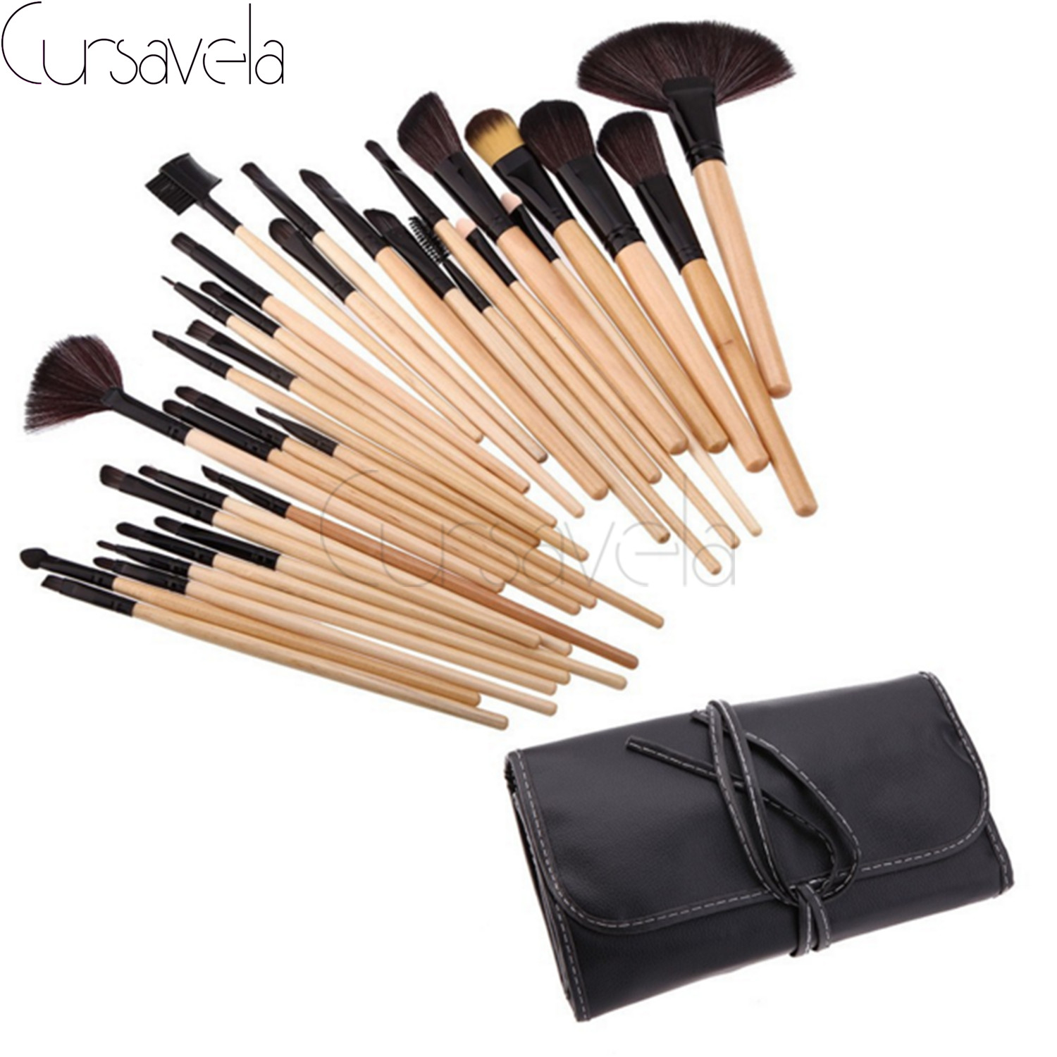 32pcs Makeup Brushes Set Goat Hair Professional Brown Makeup Brush Foundation Powder Blush Eyeliner Brushes With PU Bag EAB038 32 pcs kit makeup brushes professional set cosmetic professional makeup brush set goat hair real makeup brushes brand techniques