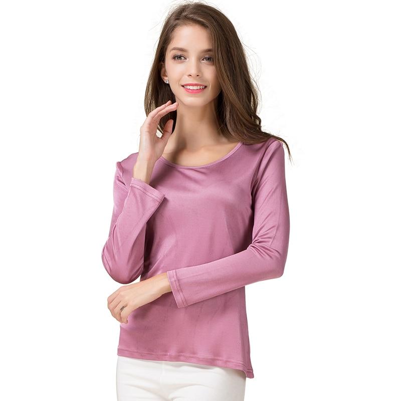 100 pure silk women 39 s long sleeve t shirts women o neck for Women s long sleeve t shirts