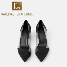 KATELVADI Elegant Fashion Pumps 7CM High Heels Clear PVC Shoes Wedding Party Shallow Women K-451