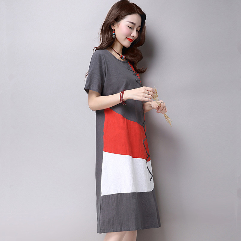 c4ffbc0d20254 Plus Size Clothing Women Loose Casual Dress New 2017 Fashion Korean Style  Patchwork Short Sleeve Cotton Linen Summer Dress H286-in Dresses from  Women s ...