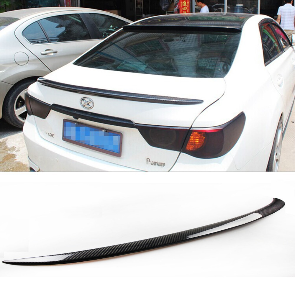 For Toyota Reiz Mark X Carbon Fiber Trunk Boot Spoiler Lip Wing 2010 2012-in Spoilers & Wings from Automobiles & Motorcycles    1