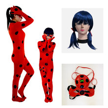 Spandex Lady bug Costume Adult Kids Girls Costumes Lady Bug Zentai Suit for Halloween Cosplay Mask Jumpsuits(China)