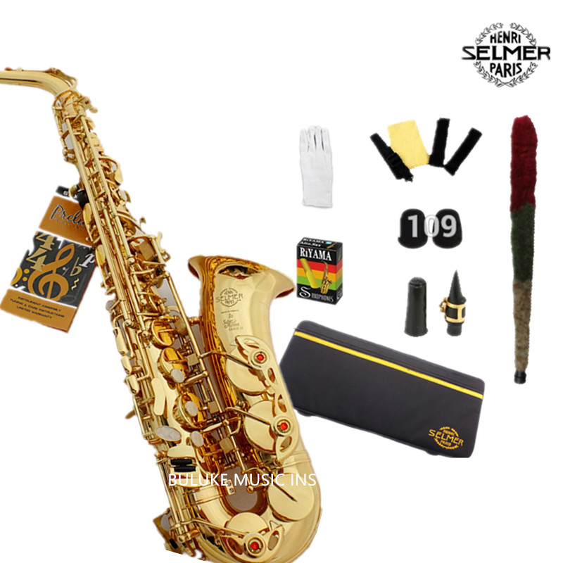 Free Selmer 802 bE Alto Saxphone Brass Lacquered Gold E Flat Sax with Cleaning Brush Cloth Gloves Cork Grease Strap Case alto saxophone selmer 54 brass silver gold key e flat musical instruments saxophone with cleaning brush cloth gloves cork strap