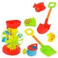 7 pcs crianças engraçado ferramentas do trole play set brinquedo moinho de vento água crianças à beira da praia balde de areia pá ancinho moldes de construção ty0142