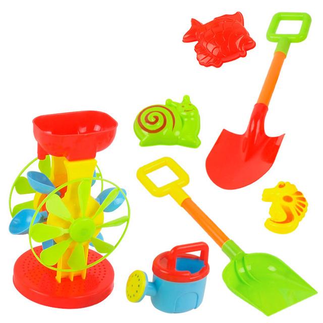7 unids niños divertidos herramientas carro arena play conjunto de juguete molino de viento de agua niños playa playa cubo pala rastrillo de construcción ty0142