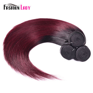 Image 5 - FASHION LADY Pre Colored Brazilian Straight Hair Extension Ombre Human Hair Weave 1B/99J 1/3/4 Bundle Per Pack Non Remy