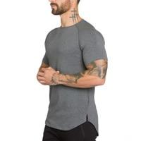 Brand gyms clothing fitness t shirt men fashion extend hip hop summer short sleeve t-shirt cotton bodybuilding muscle tshirt man
