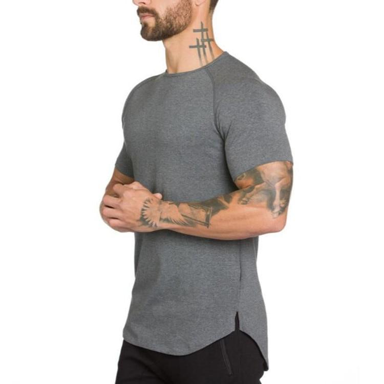Marca gyms ropa fitness camiseta hombres moda extender hip hop verano manga corta Camiseta algodón musculosa Camiseta Hombre