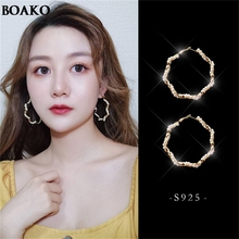 Fashion Big Round pearl Drop Earrrings S925 silver needle Crystal Pendant Earrings Party Gift Jewelry Hot Sale A30