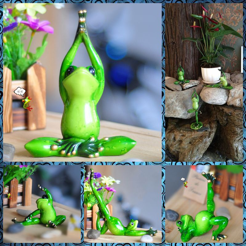 Free shipping Funny Frog Family Figures Resin toy Yoga Pilates styles cake home Gym office desk car decor party supply gifts