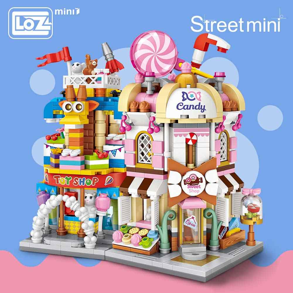 LOZ Mini Bricks City View Scène Mini Street Model Bouwsteenspeelgoed Gaming Kamer Candy Shop Speelgoed Winkel Architectuur Kinderen DIY