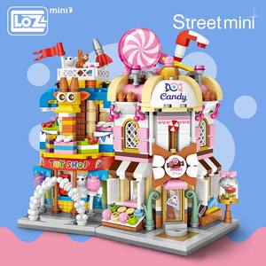 Image 1 - LOZ Mini Tuğla Şehir Manzaralı Sahne Mini Sokak Modeli Yapı blok oyuncaklar Oyun Odası Şeker Dükkanı Oyuncak Mağazası Mimari Çocuk DIY