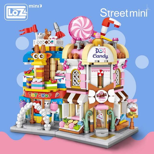 Loz mini tijolos cidade vista cena mini modelo de rua bloco de construção brinquedos sala de jogos loja de brinquedos arquitetura crianças diy
