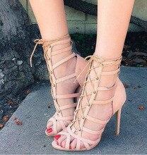 Летние сандалии женщина элегантный бежевый узелок вырез на высоком каблуке платье обувь женщина краткие выдалбливают дизайн лодыжки ремень peep toe