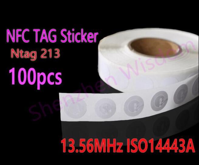 bilder für 100 stücke NFC Tags 13,56 MHz ISO14443A NFC Aufkleber 25mm Ntag213 RFID NFC-tag Aufkleber Für Alle Nfc-telefon