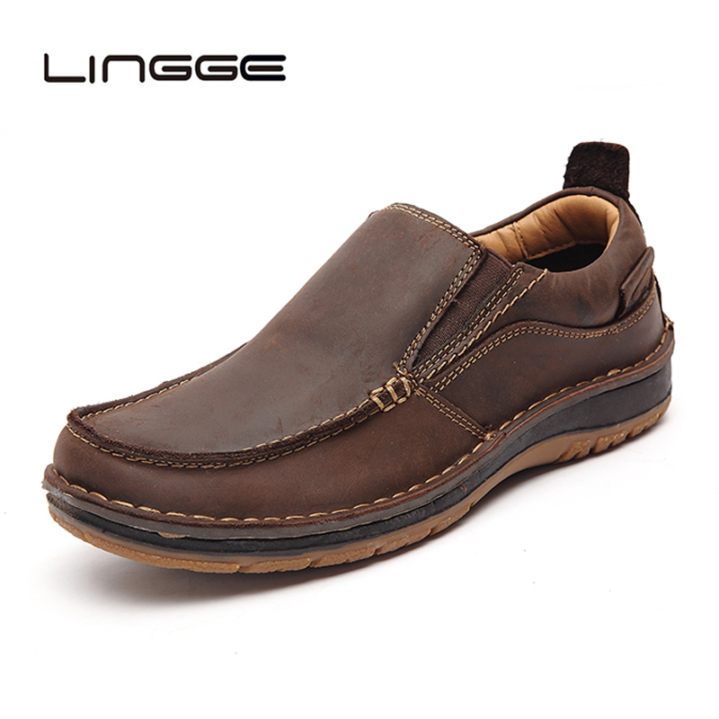 LINGGE Handmade Genuine Leather Men Casual Shoes Fashion Men Shoes Loafers Comfortable Men Leather Shoes Slip