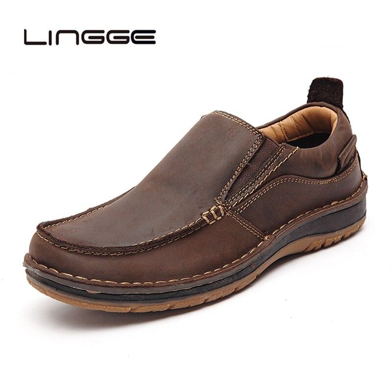 LINGGE à la main en cuir véritable hommes chaussures décontractées mode hommes chaussures mocassins hommes confortables chaussures en cuir sans lacet mocassins