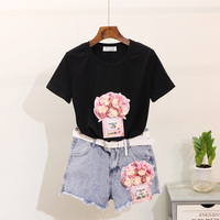 European Jean Shorts Set Women Twopiece Suit 2019 Summer New Sequins Perfume Bottle Flower T shirt + Hot Pants Girls Student