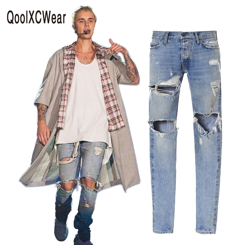 kanye west denim jeans designer clothes rockstar justin bieber ankle zipper destroyed skinny ripped jeans for men fear of god new brand hi street for men ripped biker jeans hip hop skinny slim fit black denim pants destroyed swag joggers kanye west
