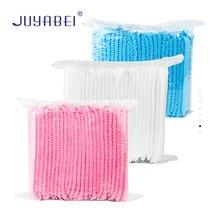 100 Unisex Disposable Hat Non-woven Pleated Rubber Band Bundled Dust Cap Laboratory Dust-proof Workshop Beauty Salon