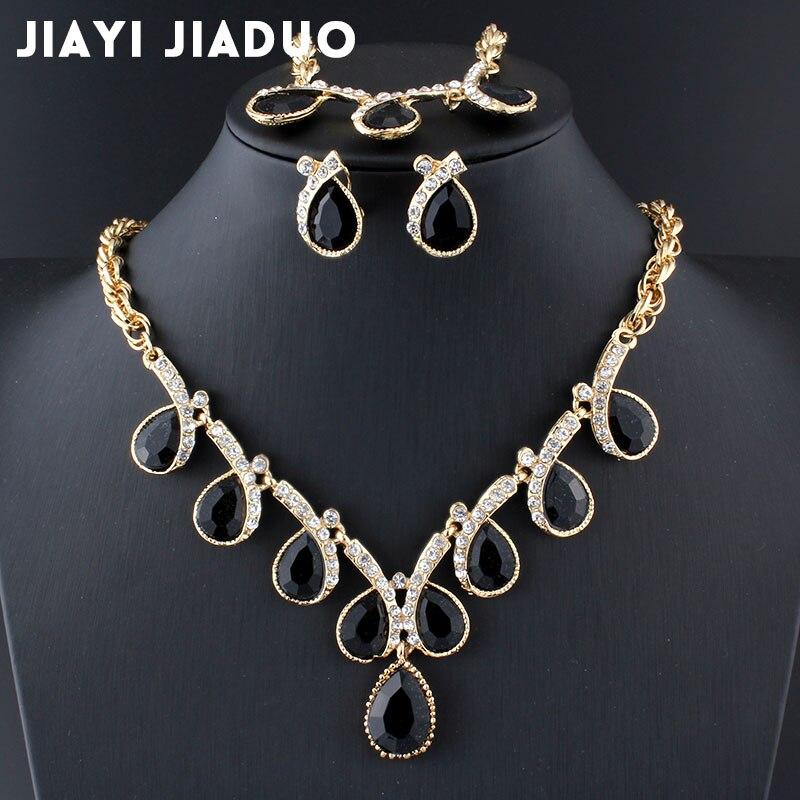 100% Wahr Jiayijiaduo Charme Lila Kristall Halskette Ohrring Armband Set Für Frauen Hochzeit Kleid Schmuck Set 2 Farbe Brasilianisches Mädchen Der Geschenk
