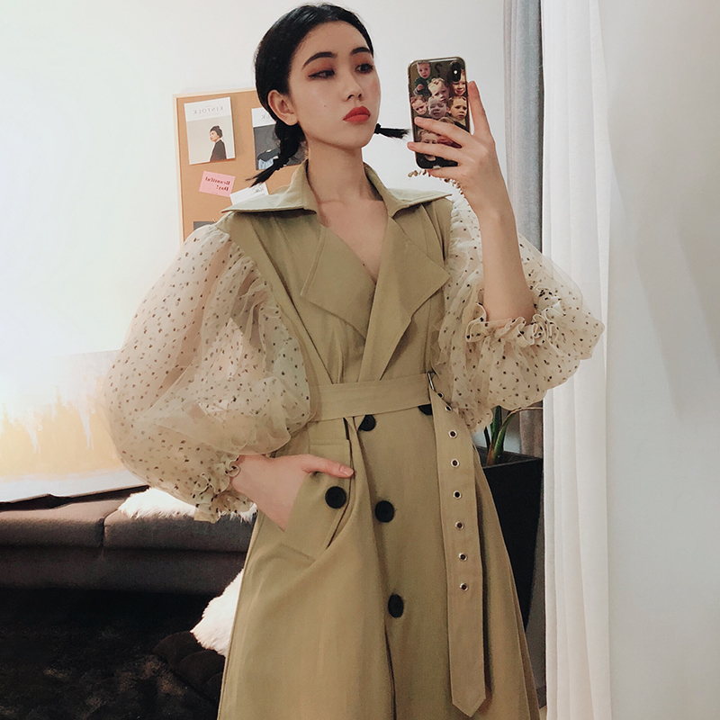 LANMREM 2019 New Fashion Dot Mesh Puff Long Sleeve Patchwork Windbreaker Female s Double Breasted Long