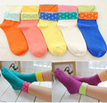 10 pairs/lot Wholesale Cotton Socks Creative Flanging Polka Dot  Women Socks Candy Color Casual  Sock Both Sides Wear