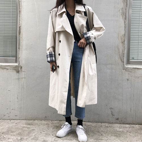 New 2019 Fashion Women Beige White Long   trench   coats Plus size Fall coats outwear