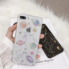 Luxury Glitter Space Stars Planet Silicone TPU Phone Case For iPhone 11 Pro MAX 6 6s 8 7 Plus XR X XS Cover Capa Funda