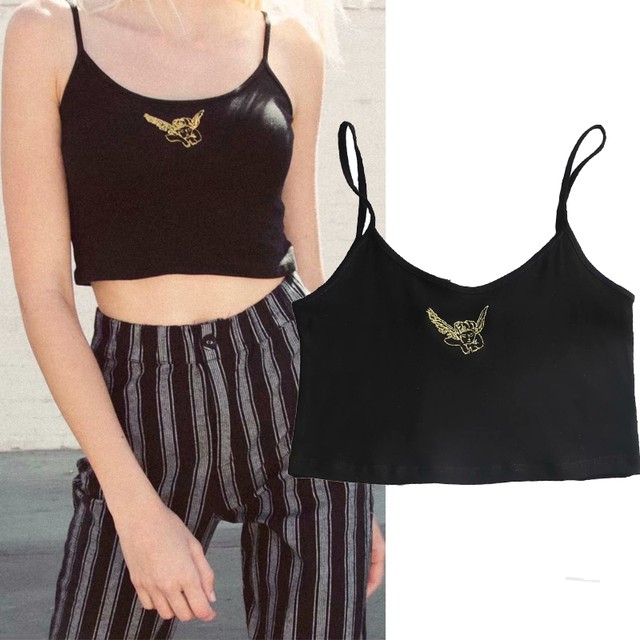 764b7fa91d Women Angel Embroidery Camisole Tops Summer Sleeveless Cropped Tops Sexy  Strapless Tops Solid Color Basic Tee