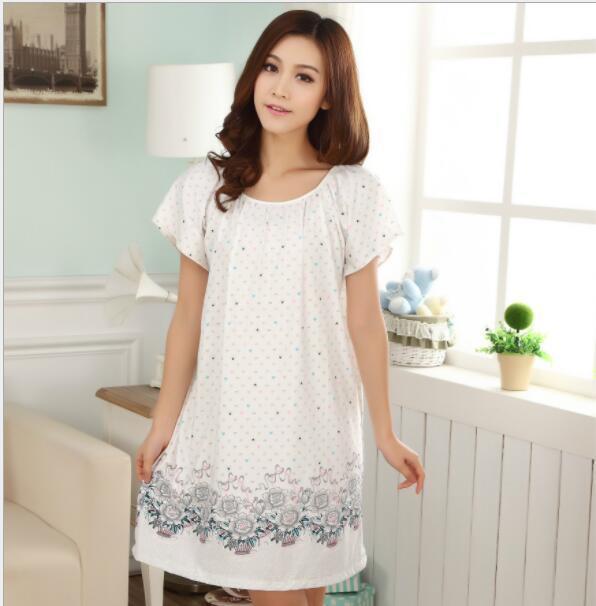 Plus Size Nightgowns For Women 2021 Summer Dressing Gowns Girls Nightshirts Nightdress Cotton And Silk Sleepshirt L-XXL E1082 3