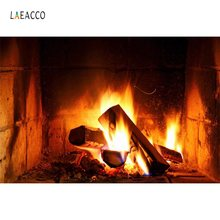 Laeacco Fireplace Wood Fire Flame Exuberant Brick Party Decor Baby Photo Backdrop Photography Background Photocall Photo Studio(China)