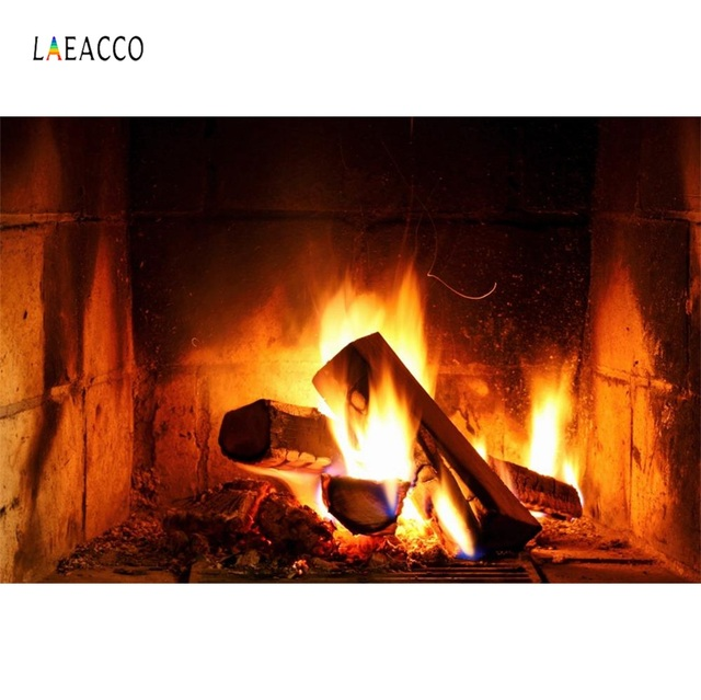 Laeacco Fireplace Wood Fire Flame Exuberant Brick Party Decor Baby Photo Backdrop Photography Background Photocall Photo Studio