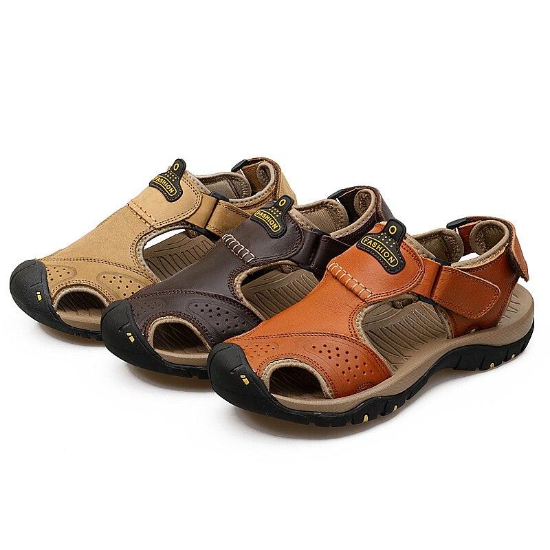 Valstone pria Sandal kulit asli Mewah musim panas sandal kulit alami - Sepatu Pria - Foto 3