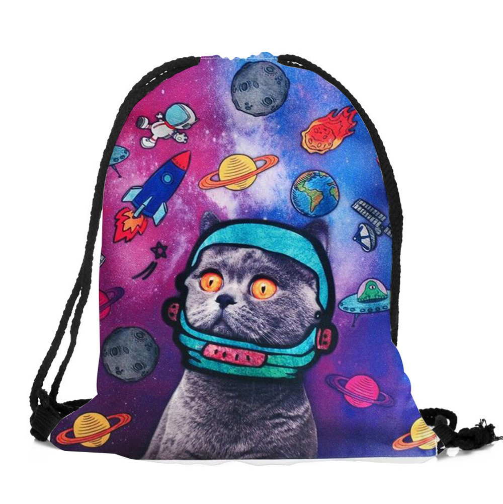 Fashion Drawstring Bag 3D Printing Cats Polyester Teenagers Backpack Unisex Travel Storage Package Mini Shopping Bags Xiniu 1pc hight quality hot fashion unisex emoji backpacks 3d printing bags drawstring backpack nov 10