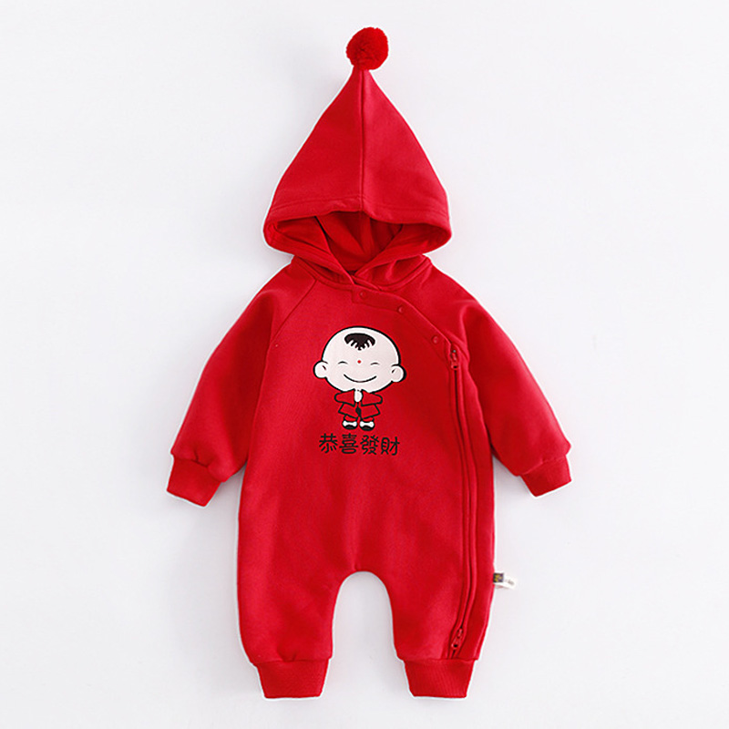 Cotton New Year Clothing Long Sleeve Baby Jumpsuit Romper Print Hoodie Onesie Pajamas Home Wear Infant Baby Clothes for 0-2Years hurave infant clothing color stripes cotton knit long sleeve jumpsuit velvet baby romper new born baby boys and girls clothes