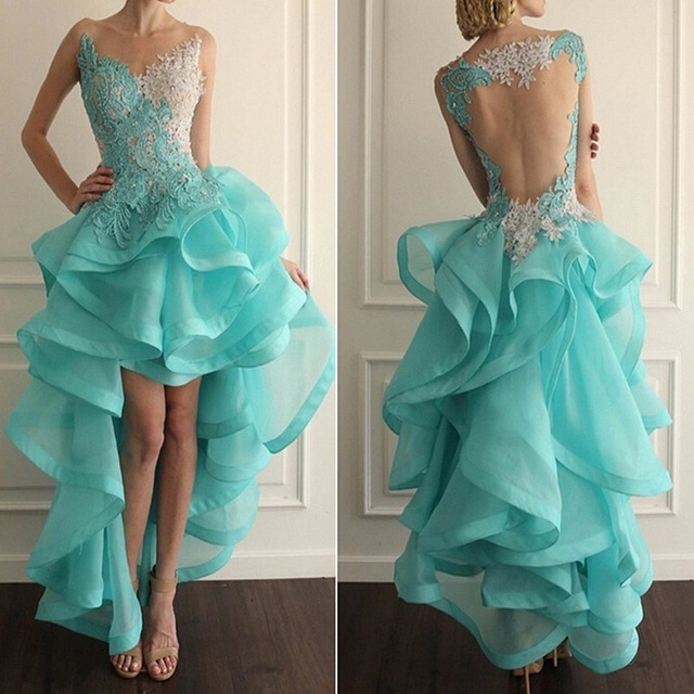 Fashion A Line Short Evening Dress 2019 O Neck backless sheer tulle appliques lace prom dresses