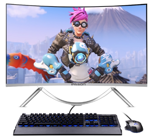 All In One DIY Computer Pc Desktop With 23.6 27 32 Inch Curved Lcd Hd Screen Display Panel And Cpu I5/i7 Ram 8G SSD 120G