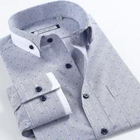 Autumn Summer Man Brand Hight Quality Dot Buckle 100 Cotton Plaid Men Business Casual Male Long
