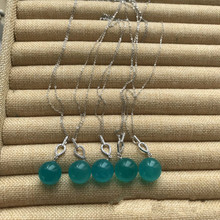 Natural ice  Tianhe stone bead necklace pendant DIY925 silver chain