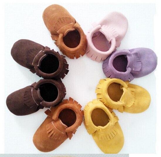 2017 новые высочайшее качество Замши Детские Мокасины fringe детская обувь Натуральная кожа новорожденных обувь первые ходоки Против Скольжения Детские обувь