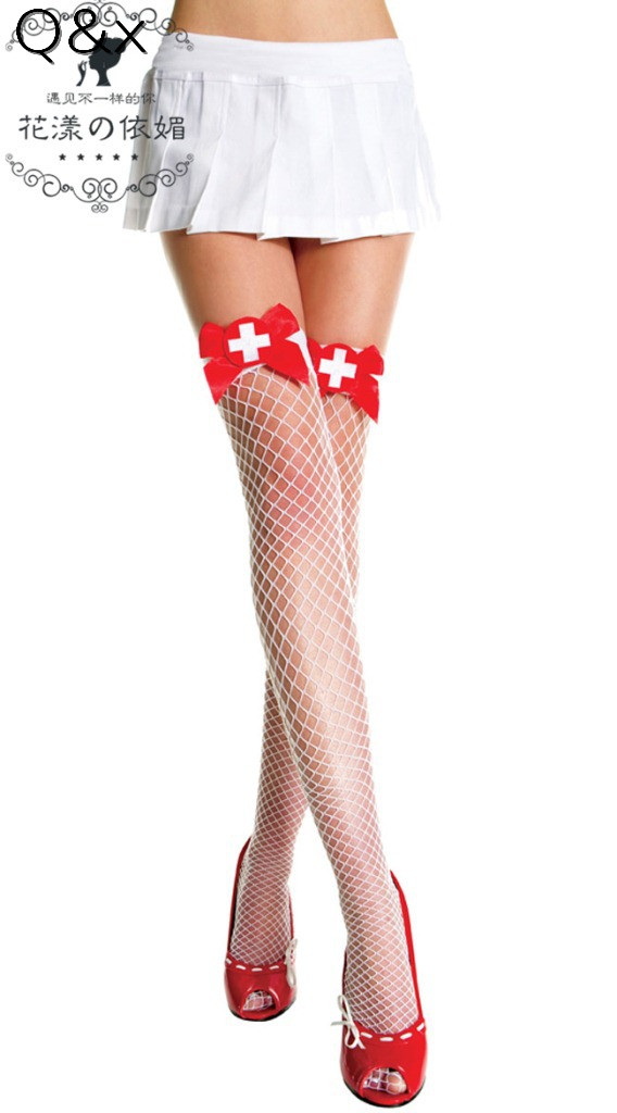 YQ65 Sexy White Nurse Maid Fantasy Opaque Role Play Thigh-High Stockings with Red Bow Top Erotic Game Lingerie Cosplay Costume