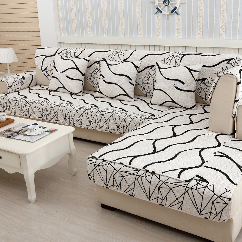Black Strips Decoration Sofa Cover Cotton Slip resistant Sofa Towel Chair Covers Mats Living Drawing Room