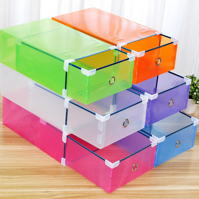 Special Offer Thick Transparent Colored Plastic Shoebox Drawer Storage box Boots Organizer Container Finishing Box